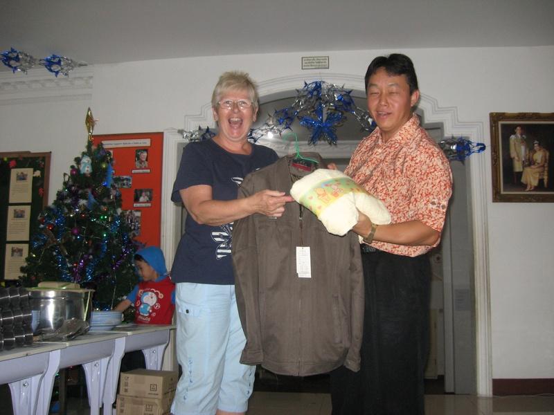 Mr Preecha got a jacket and a pooh bear towel